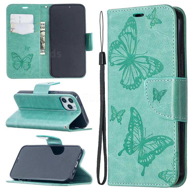 Embossing Double Butterfly Leather Wallet Case for iPhone 12 Pro (6.1 inch) - Green