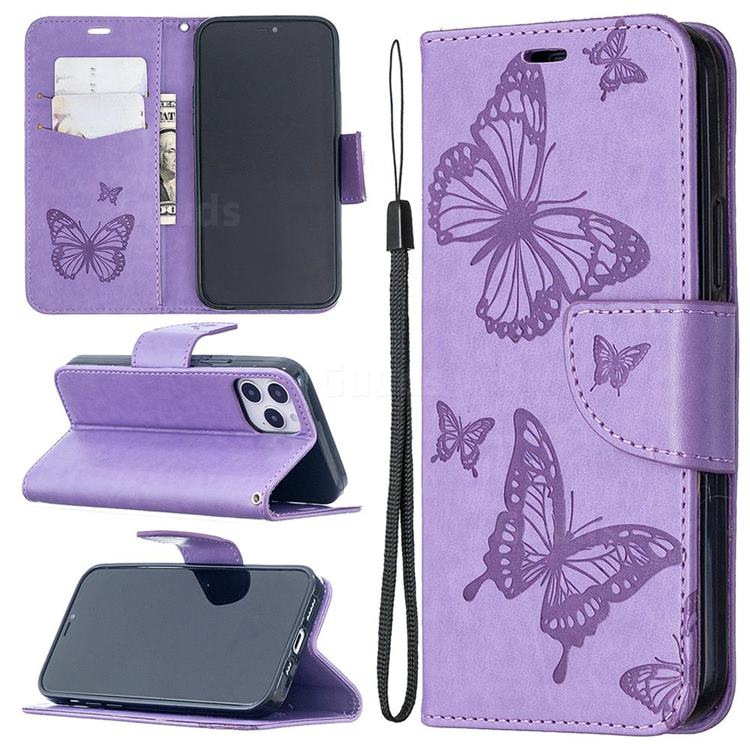 Embossing Double Butterfly Leather Wallet Case for iPhone 12 Pro (6.1 inch) - Purple