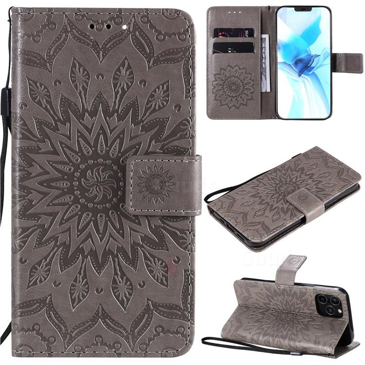 Embossing Sunflower Leather Wallet Case for iPhone 12 / 12 Pro (6.1 inch) - Gray
