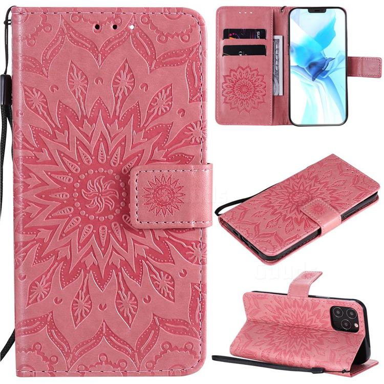 Embossing Sunflower Leather Wallet Case for iPhone 12 Pro (6.1 inch) - Pink