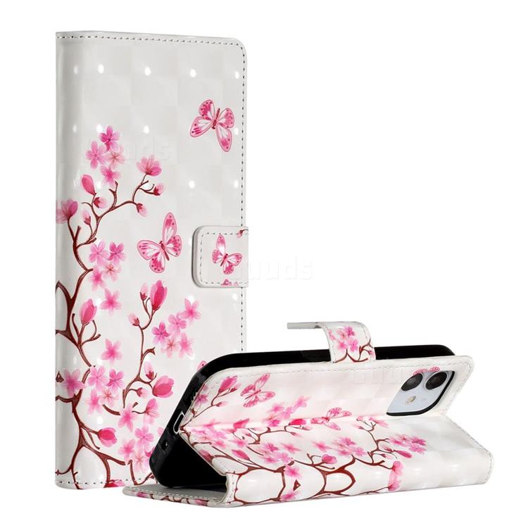 Butterfly Sakura Flower 3D Painted Leather Phone Wallet Case for iPhone 12 Pro (6.1 inch)