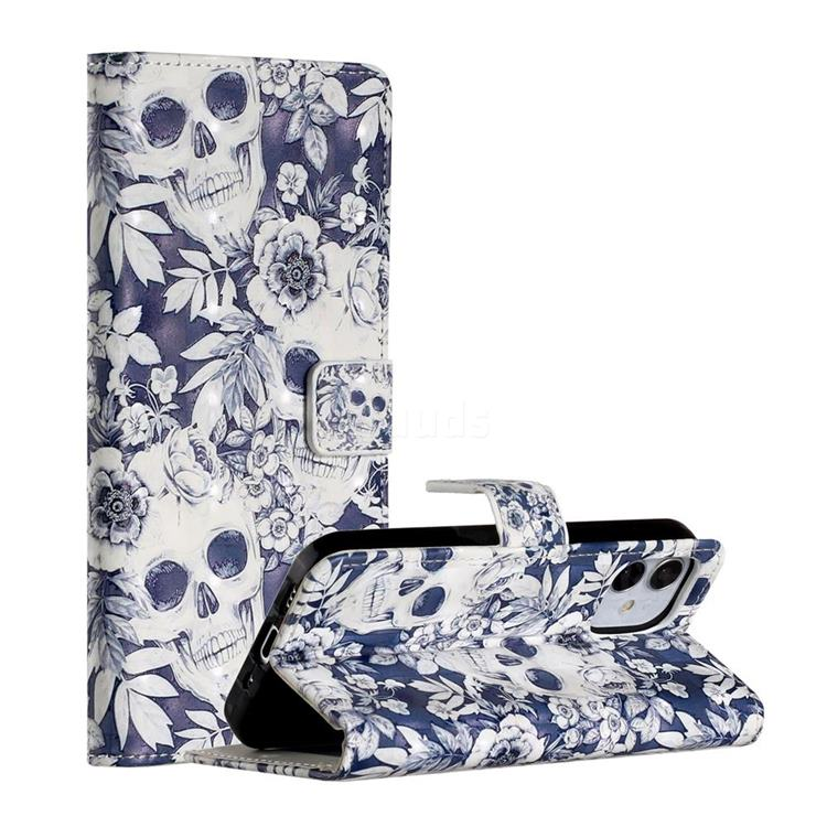 Skull Flower 3D Painted Leather Phone Wallet Case for iPhone 12 Pro (6.1 inch)