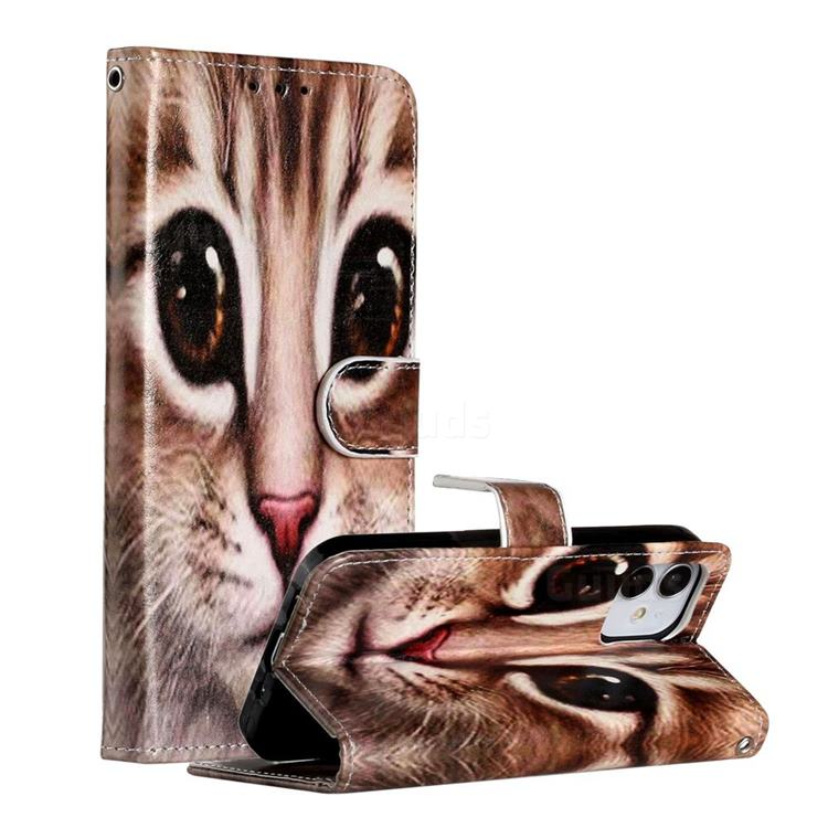 Coffe Cat Smooth Leather Phone Wallet Case for iPhone 12 Pro (6.1 inch)