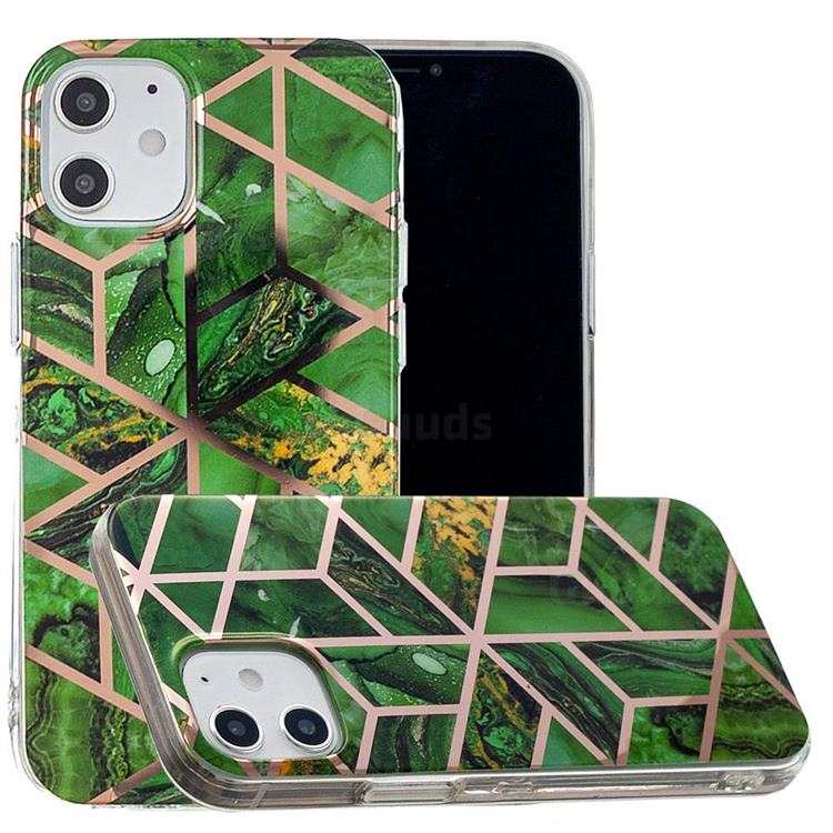 Green Rhombus Galvanized Rose Gold Marble Phone Back Cover for iPhone 12 Pro (6.1 inch)