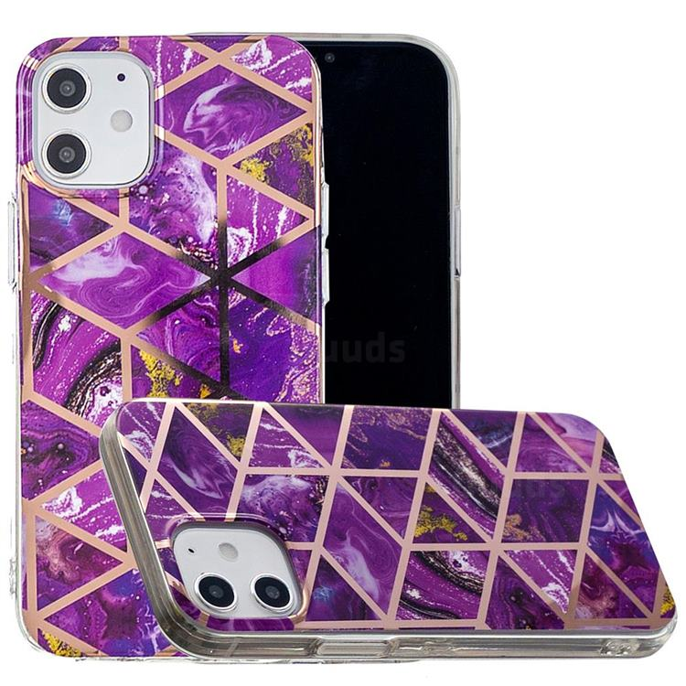 Purple Rhombus Galvanized Rose Gold Marble Phone Back Cover for iPhone 12 Pro (6.1 inch)