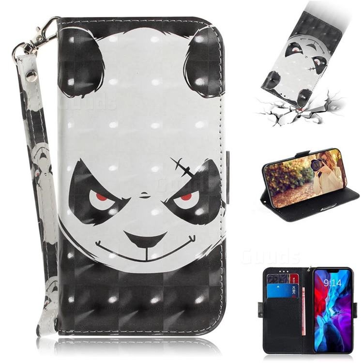 Angry Bear 3D Painted Leather Wallet Phone Case for iPhone 12 Pro (6.1 inch)