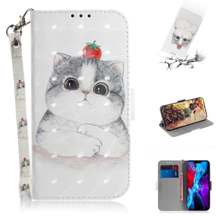 Cute Tomato Cat 3D Painted Leather Wallet Phone Case for iPhone 12 Pro (6.1 inch)