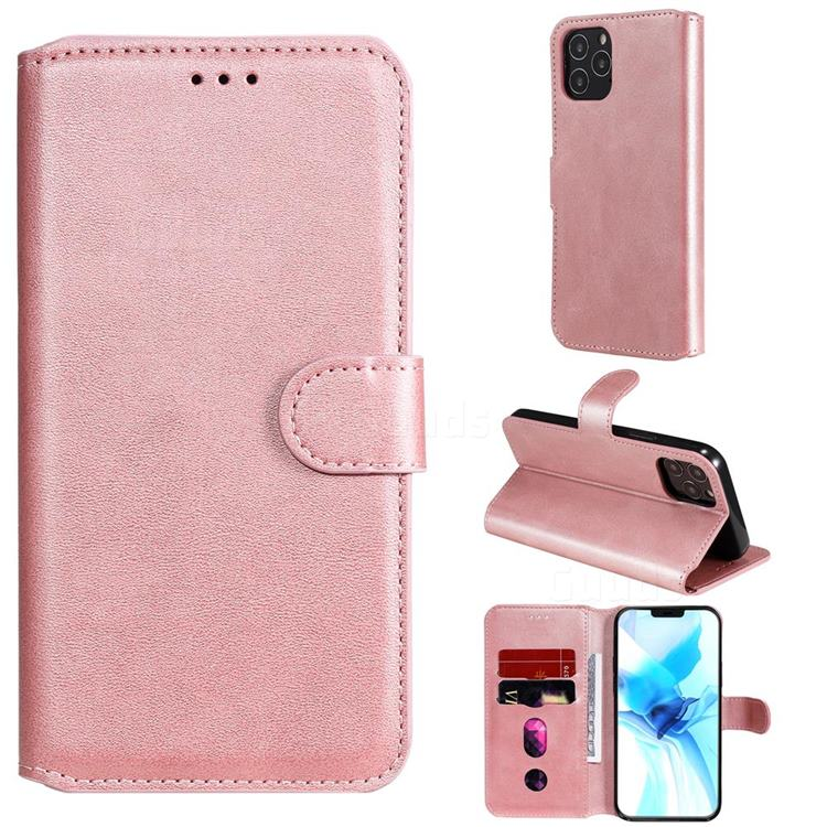 Retro Calf Matte Leather Wallet Phone Case for iPhone 12 Pro (6.1 inch) - Pink