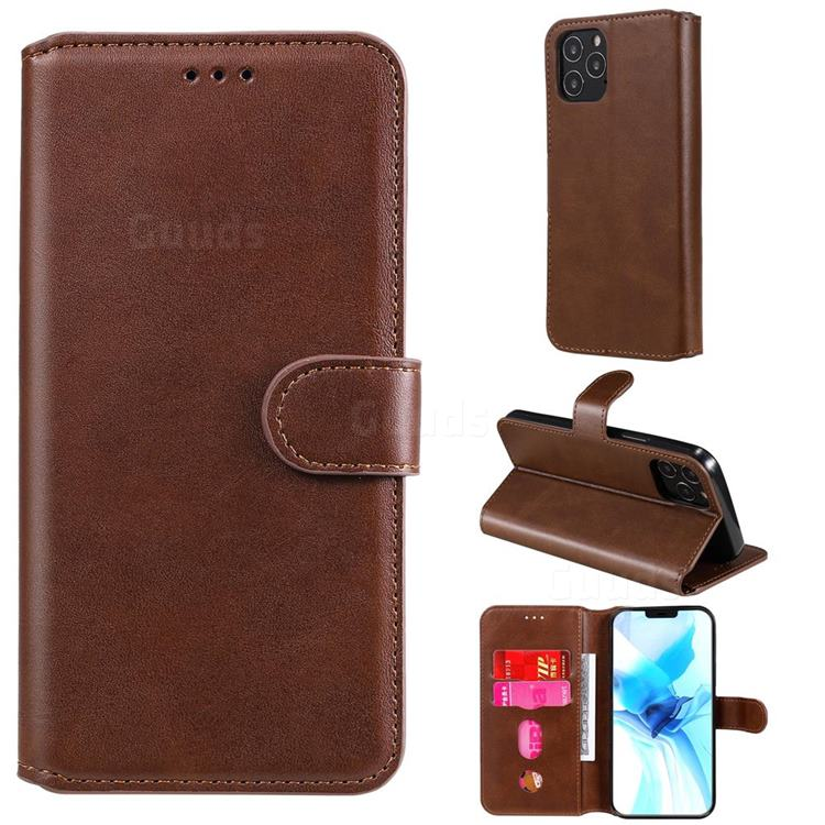 Retro Calf Matte Leather Wallet Phone Case for iPhone 12 Pro (6.1 inch) - Brown