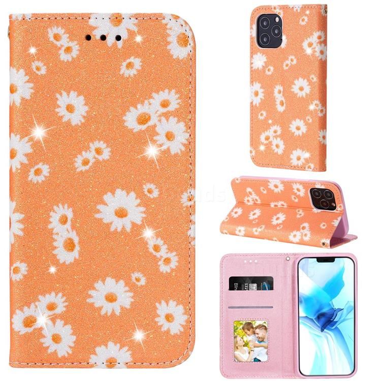 Ultra Slim Daisy Sparkle Glitter Powder Magnetic Leather Wallet Case for iPhone 12 Pro (6.1 inch) - Orange