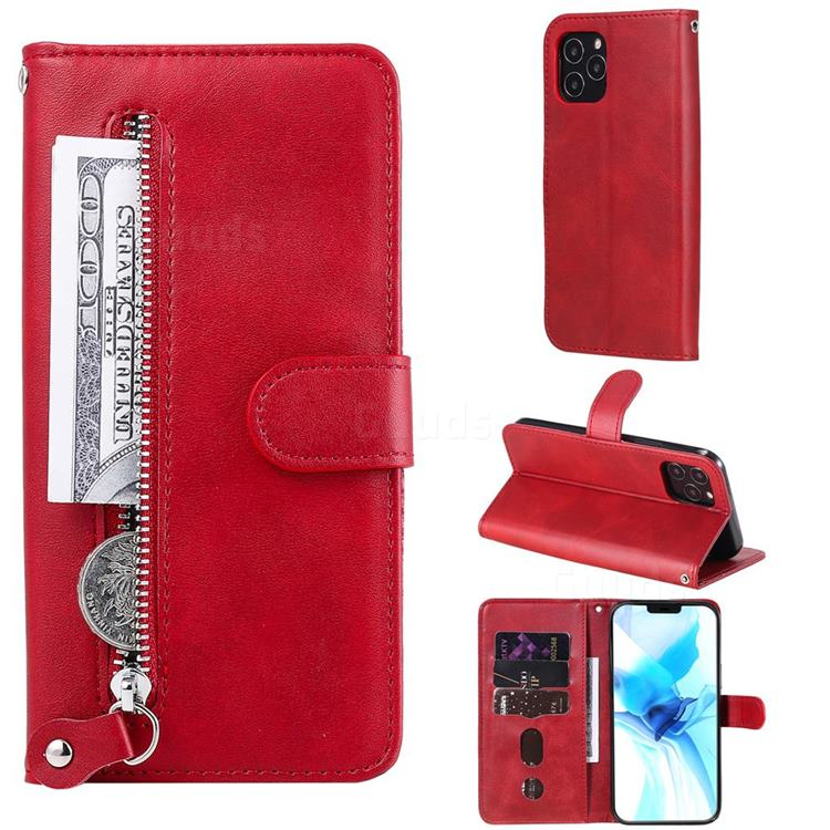 Retro Luxury Zipper Leather Phone Wallet Case for iPhone 12 Pro (6.1 inch) - Red