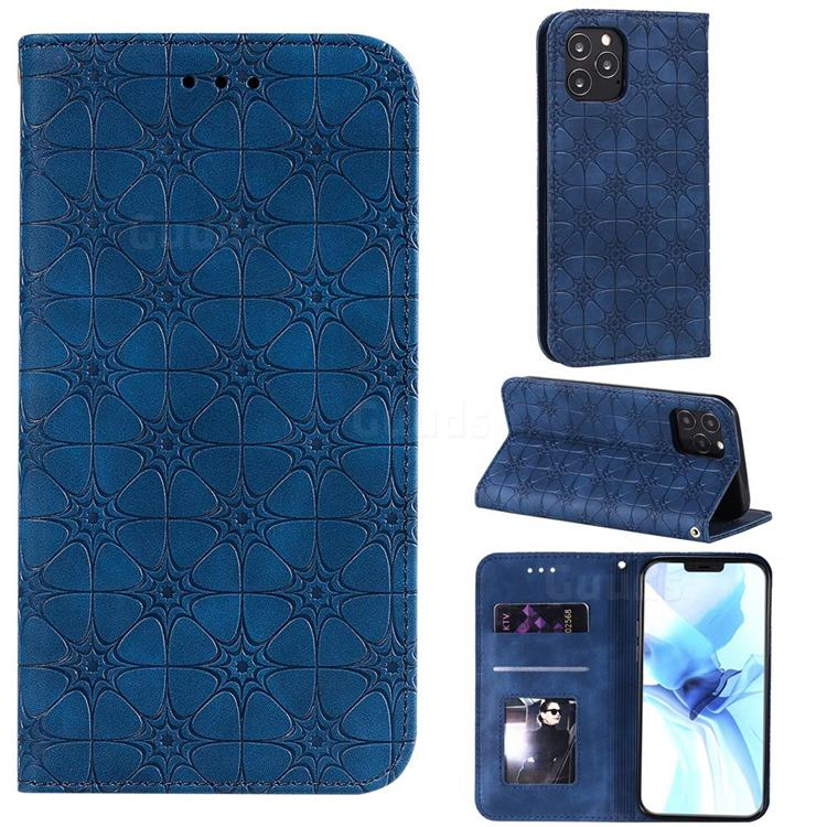 Intricate Embossing Four Leaf Clover Leather Wallet Case for iPhone 12 Pro (6.1 inch) - Dark Blue