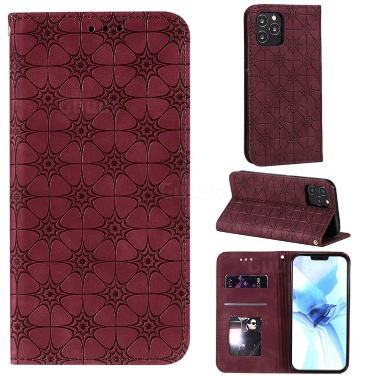 Intricate Embossing Four Leaf Clover Leather Wallet Case for iPhone 12 Pro (6.1 inch) - Claret