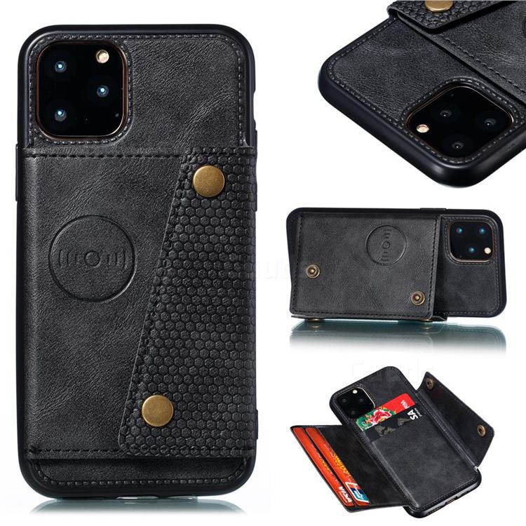 Retro Multifunction Card Slots Stand Leather Coated Phone Back Cover for iPhone 12 Pro (6.1 inch) - Black