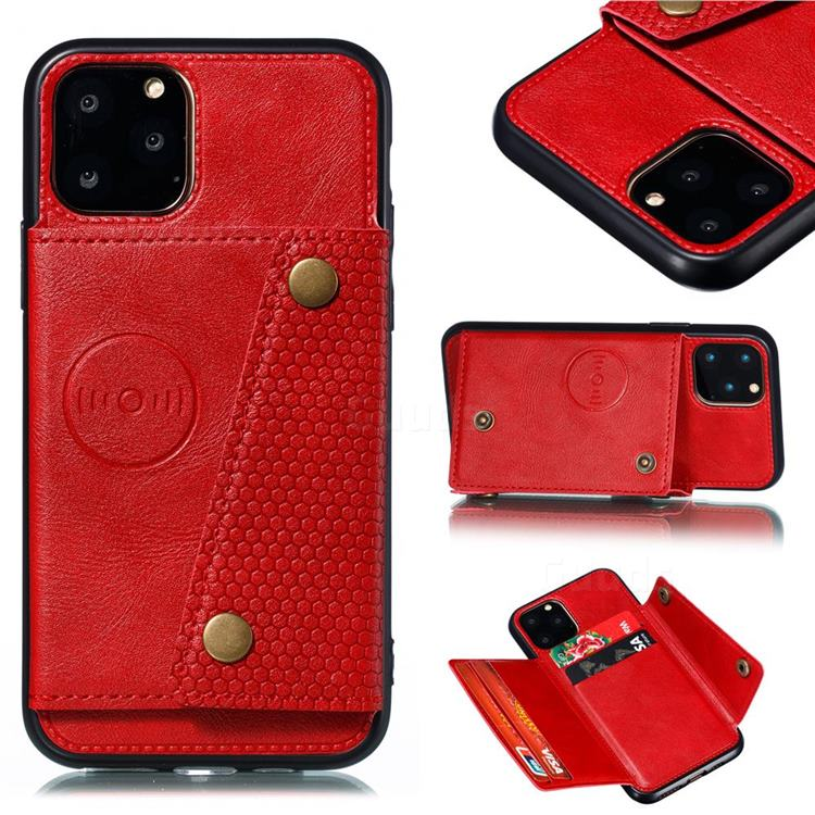 Retro Multifunction Card Slots Stand Leather Coated Phone Back Cover for iPhone 12 Pro (6.1 inch) - Red