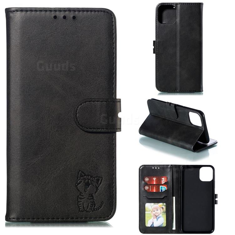 Embossing Happy Cat Leather Wallet Case for iPhone 12 Pro (6.1 inch) - Black
