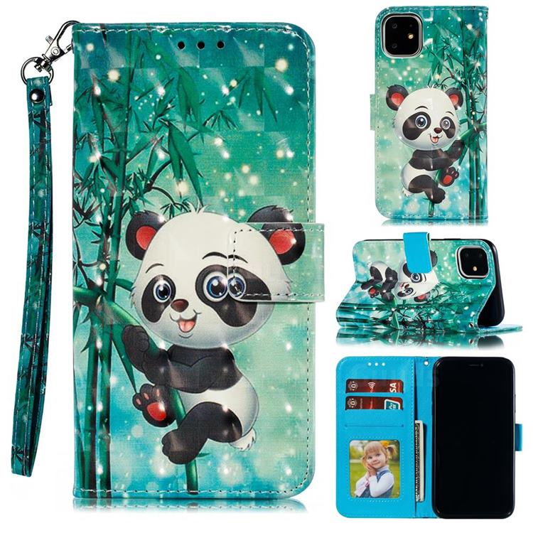 Cute Panda 3D Painted Leather Phone Wallet Case for iPhone 12 Pro (6.1 inch)