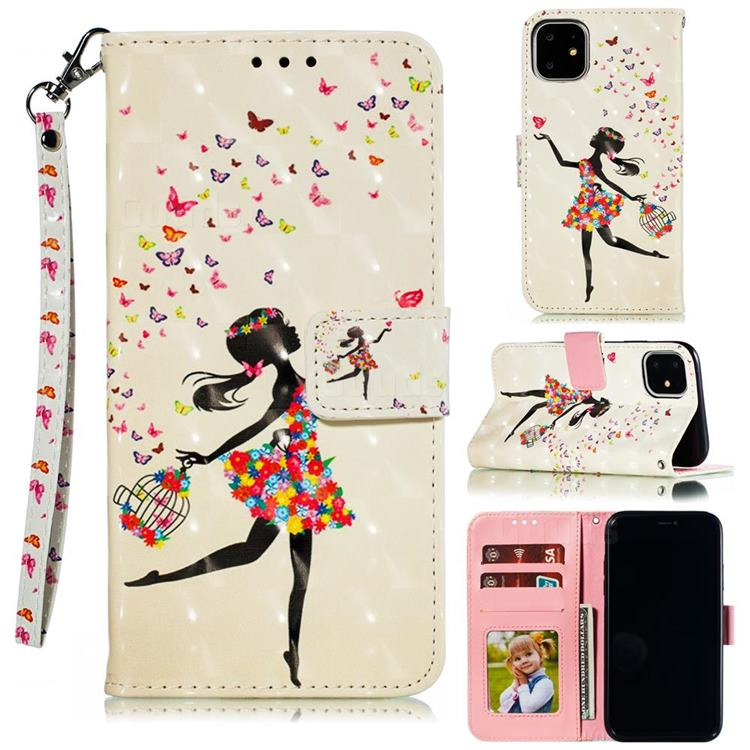 Flower Girl 3D Painted Leather Phone Wallet Case for iPhone 12 Pro (6.1 inch)