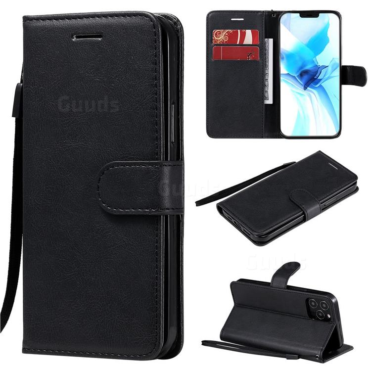 Retro Greek Classic Smooth PU Leather Wallet Phone Case for iPhone 12 / 12 Pro (6.1 inch) - Black