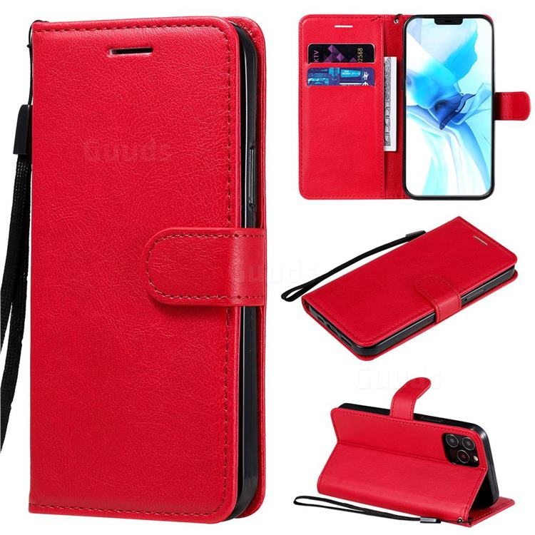 Retro Greek Classic Smooth PU Leather Wallet Phone Case for iPhone 12 Pro (6.1 inch) - Red