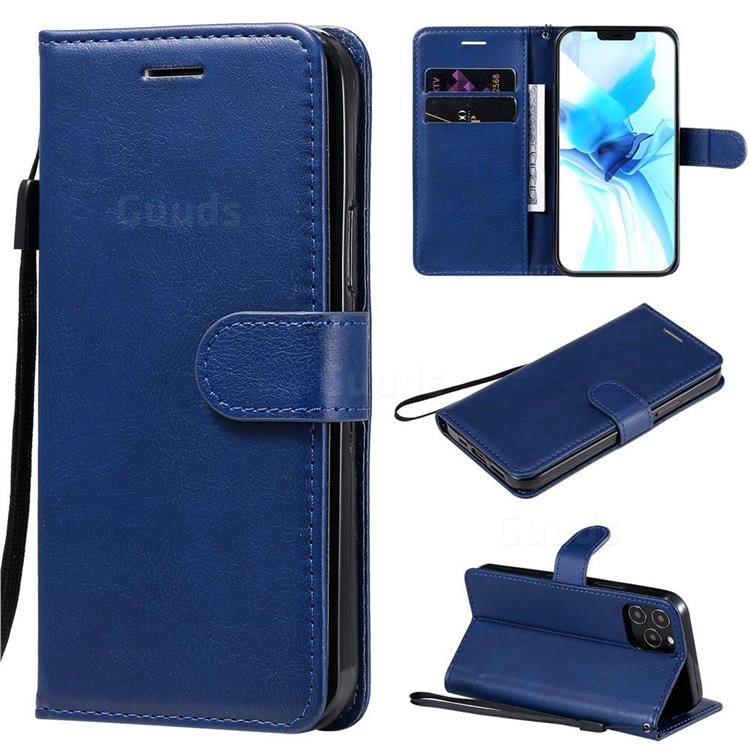Retro Greek Classic Smooth PU Leather Wallet Phone Case for iPhone 12 Pro (6.1 inch) - Blue