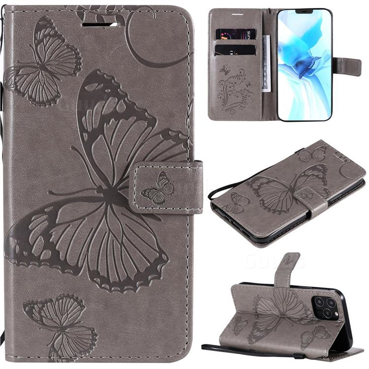 Embossing 3D Butterfly Leather Wallet Case for iPhone 12 / 12 Pro (6.1 inch) - Gray