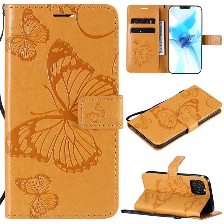 Embossing 3D Butterfly Leather Wallet Case for iPhone 12 Pro (6.1 inch) - Yellow