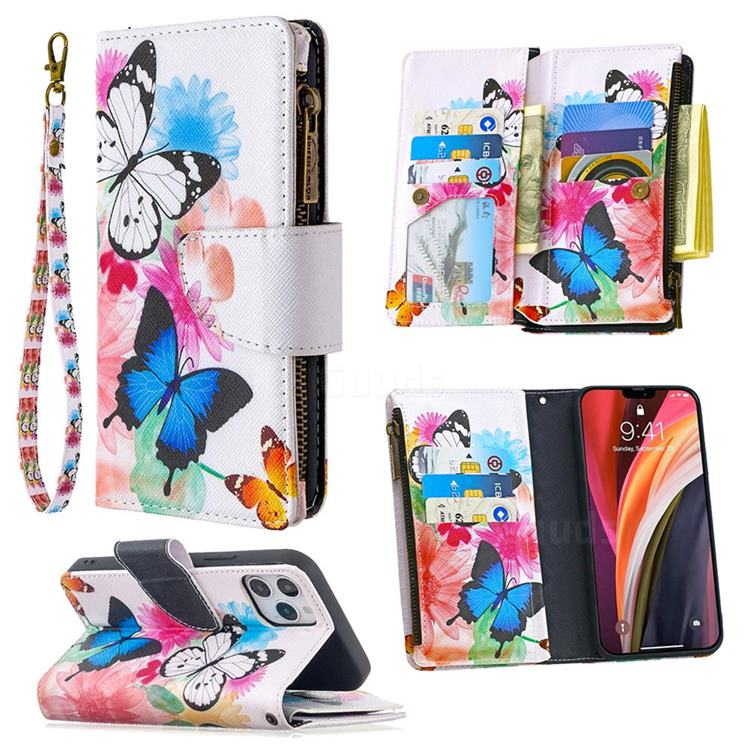 Vivid Flying Butterflies Binfen Color BF03 Retro Zipper Leather Wallet Phone Case for iPhone 12 Pro (6.1 inch)