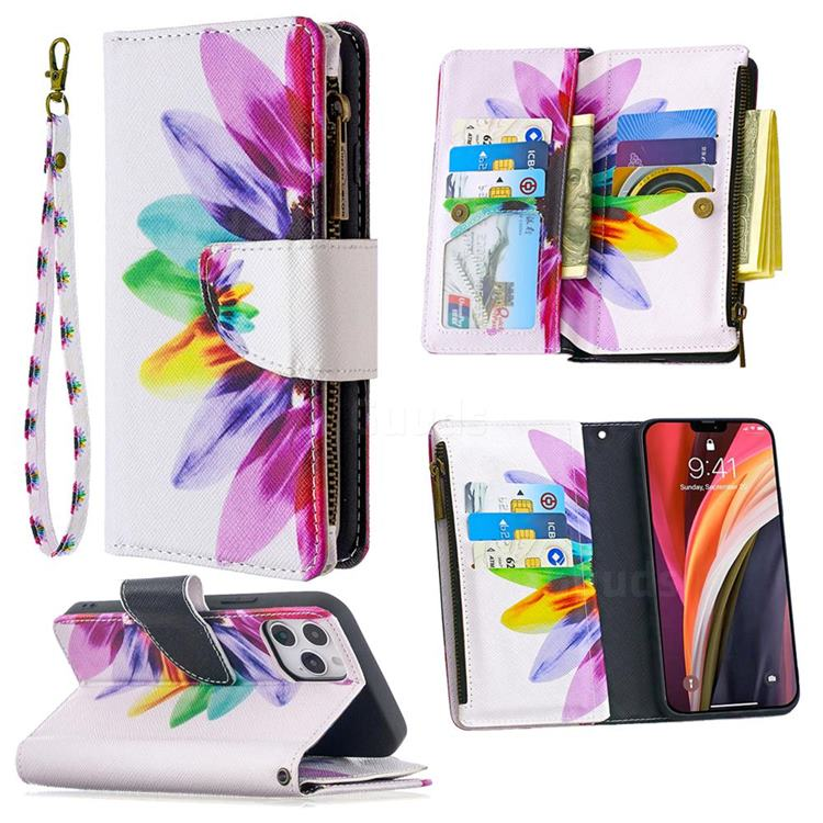 Seven-color Flowers Binfen Color BF03 Retro Zipper Leather Wallet Phone Case for iPhone 12 Pro (6.1 inch)