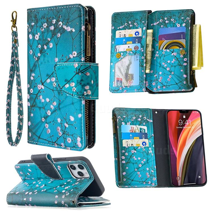 Blue Plum Binfen Color BF03 Retro Zipper Leather Wallet Phone Case for iPhone 12 Pro (6.1 inch)
