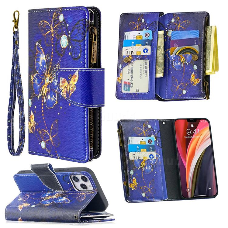 Purple Butterfly Binfen Color BF03 Retro Zipper Leather Wallet Phone Case for iPhone 12 Pro (6.1 inch)