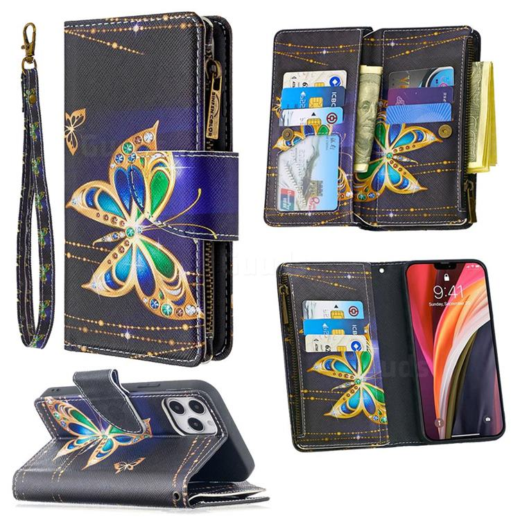 Golden Shining Butterfly Binfen Color BF03 Retro Zipper Leather Wallet Phone Case for iPhone 12 Pro (6.1 inch)