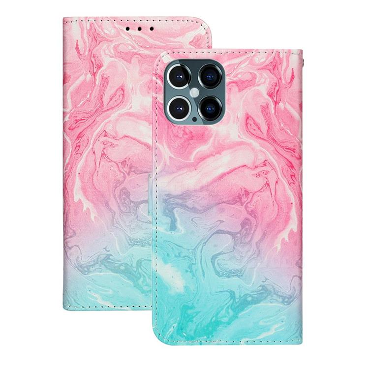 Pink Green Marble PU Leather Wallet Case for iPhone 12 Pro (6.1 inch)