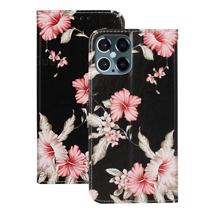 Azalea Flower PU Leather Wallet Case for iPhone 12 Pro (6.1 inch)
