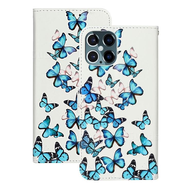 Blue Vivid Butterflies PU Leather Wallet Case for iPhone 12 Pro (6.1 inch)
