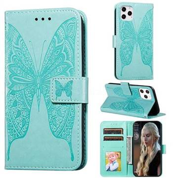 Intricate Embossing Vivid Butterfly Leather Wallet Case for iPhone 12 Pro (6.1 inch) - Green