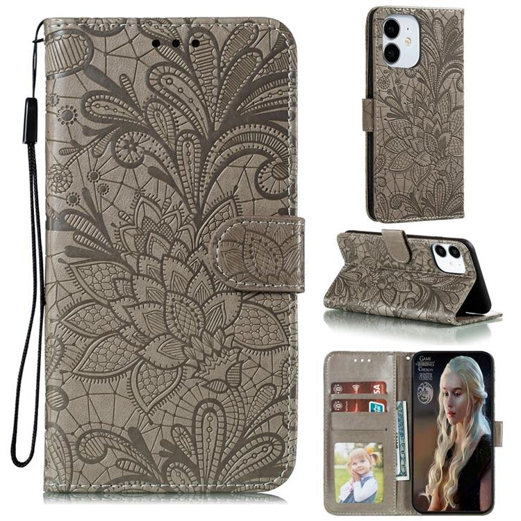 Intricate Embossing Lace Jasmine Flower Leather Wallet Case for iPhone 12 / 12 Pro (6.1 inch) - Gray