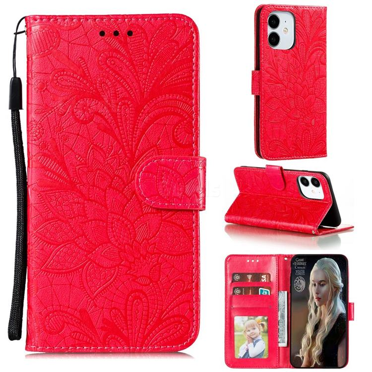 Intricate Embossing Lace Jasmine Flower Leather Wallet Case for iPhone 12 Pro (6.1 inch) - Red