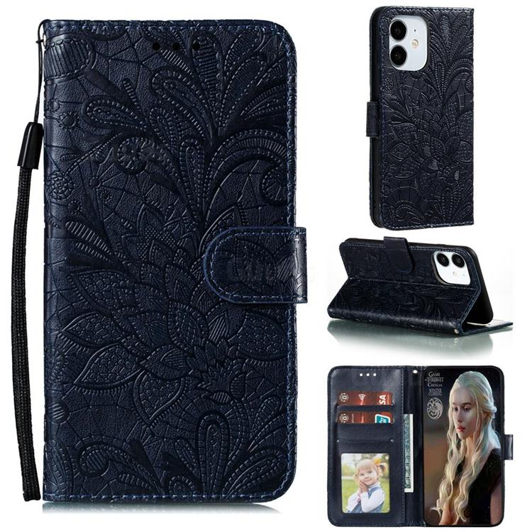 Intricate Embossing Lace Jasmine Flower Leather Wallet Case for iPhone 12 Pro (6.1 inch) - Dark Blue