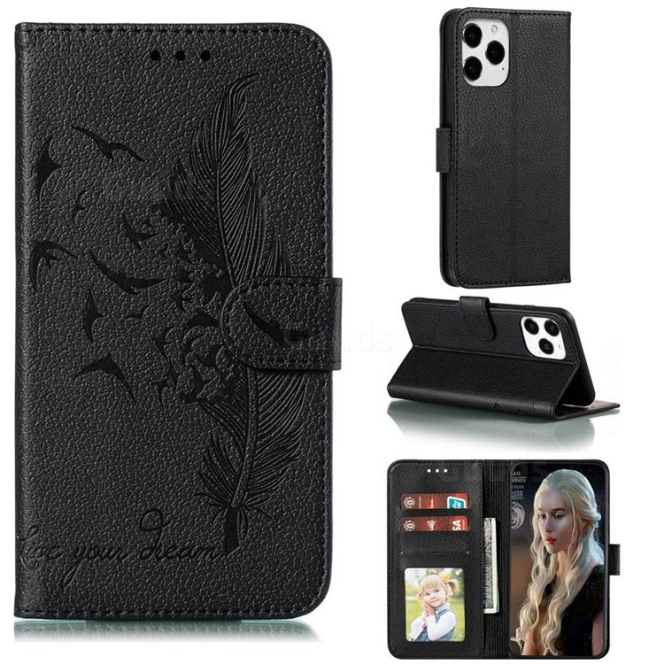 Intricate Embossing Lychee Feather Bird Leather Wallet Case for iPhone 12 / 12 Pro (6.1 inch) - Black