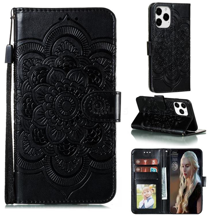 Intricate Embossing Datura Solar Leather Wallet Case for iPhone 12 / 12 Pro (6.1 inch) - Black