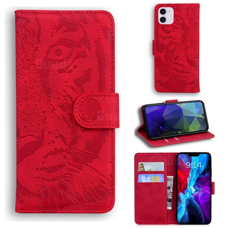 Intricate Embossing Tiger Face Leather Wallet Case for iPhone 12 / 12 Pro (6.1 inch) - Red