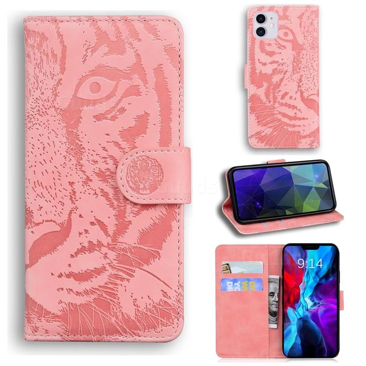 Intricate Embossing Tiger Face Leather Wallet Case for iPhone 12 / 12 Pro (6.1 inch) - Pink