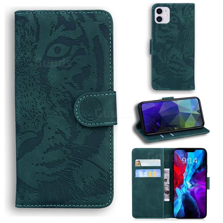Intricate Embossing Tiger Face Leather Wallet Case for iPhone 12 / 12 Pro (6.1 inch) - Green