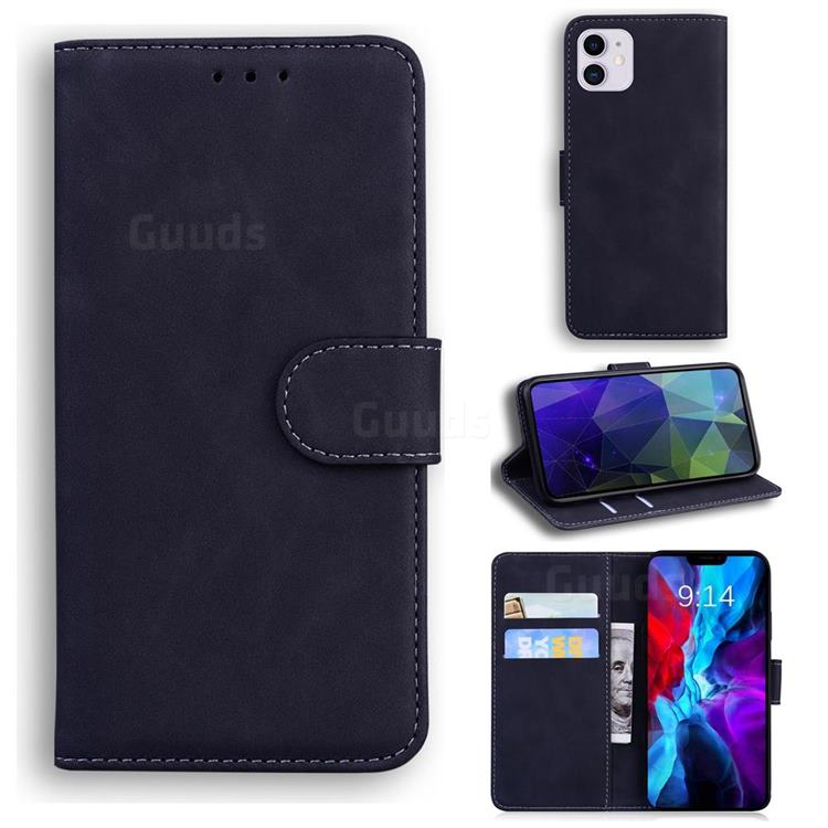 Retro Classic Skin Feel Leather Wallet Phone Case for iPhone 12 / 12 Pro (6.1 inch) - Black