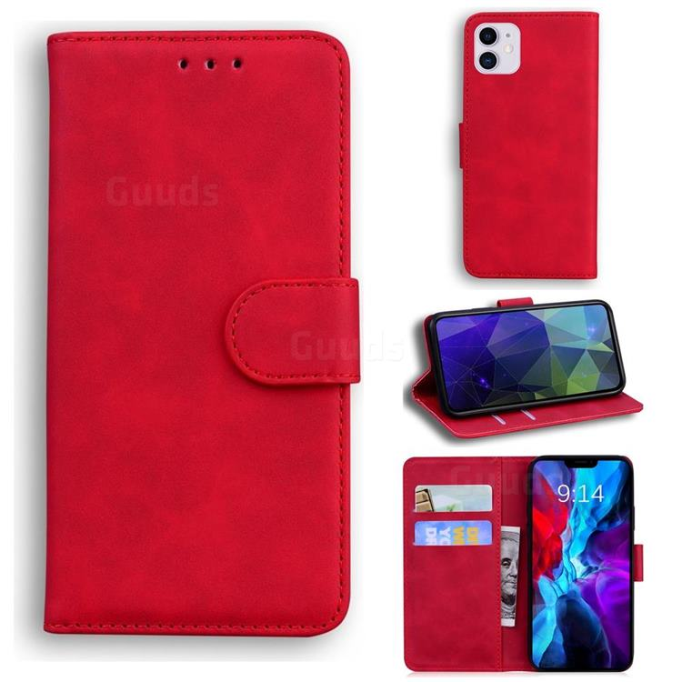Retro Classic Skin Feel Leather Wallet Phone Case for iPhone 12 / 12 Pro (6.1 inch) - Red