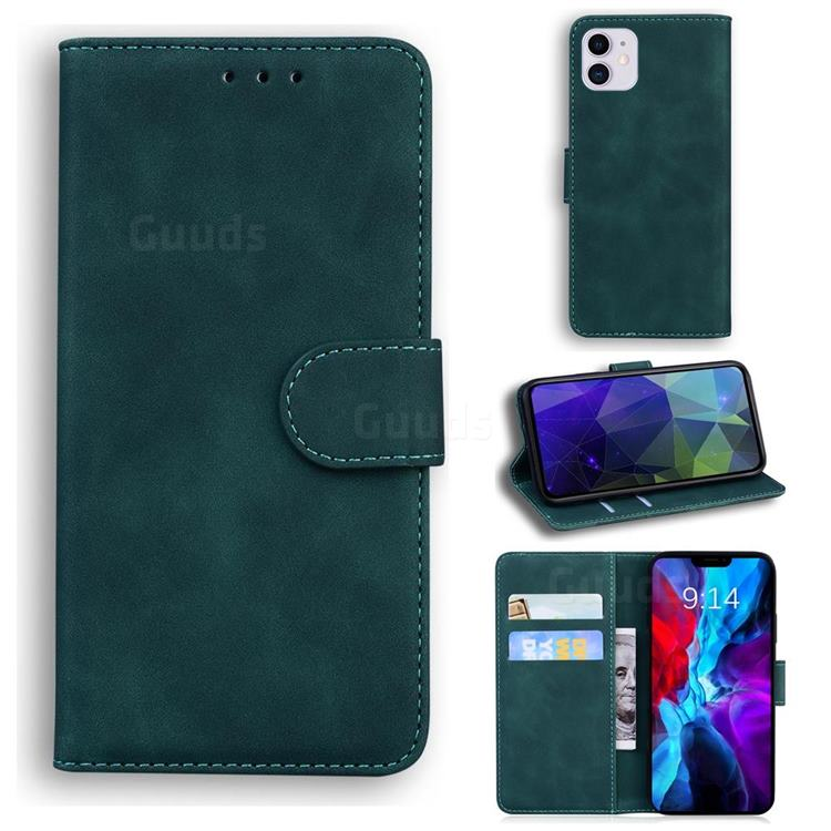 Retro Classic Skin Feel Leather Wallet Phone Case for iPhone 12 / 12 Pro (6.1 inch) - Green