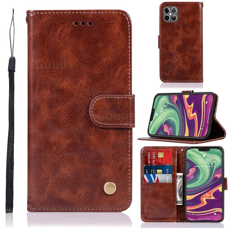 Luxury Retro Leather Wallet Case for iPhone 12 / 12 Pro (6.1 inch) - Brown
