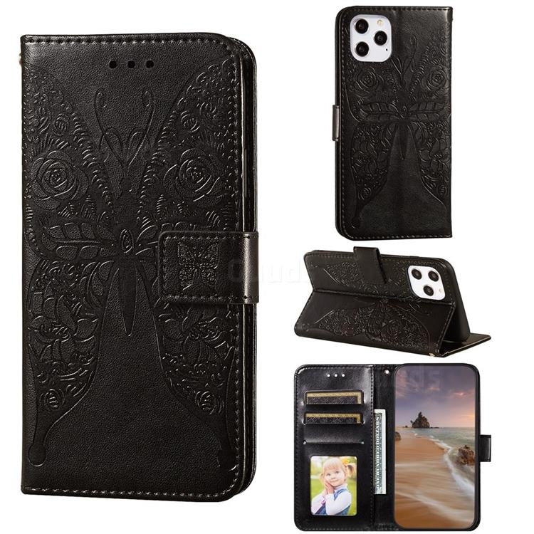 Intricate Embossing Rose Flower Butterfly Leather Wallet Case for iPhone 12 / 12 Pro (6.1 inch) - Black