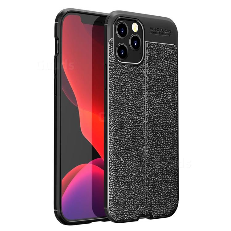 Luxury Auto Focus Litchi Texture Silicone TPU Back Cover for iPhone 12 / 12 Pro (6.1 inch) - Black